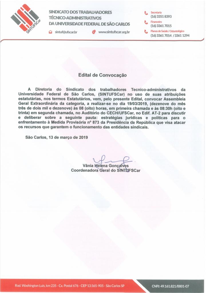 Edital de Convocação Assembleia Geral dos Trabalhadores da UFSCar