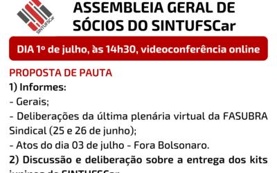 1º de julho: Assembleia Geral de Sócios do SINTUFSCar